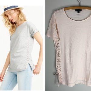 J. Crew Lace Up Tunic Tee Shirt Blush Pink Cotton